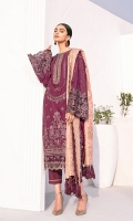 Embroidered Jacquard Lawn Front Embroidered Jacquard Lawn Side Panel Embroidered Jacquard Lawn Sleeves Plain Jacquard Back Embroidered Neckline Patch Embroidered Back Patch Embroidered Sleeves Patch Embroidered Front And Back Patches (2) Embroidered Front Patch Dyed Jamawar Jacquard Dupatta Dyed Cambric Lawn Trouser