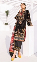 Embroidered Lawn Front Digital Printed Lawn Back Embroidered Lawn Sleeves Embroidered Sleeves Patch Embroidered Neckline Patch Embroidered Front Patch Embroidered Trousers Patch Digital Printed Chiffon Dupatta Dyed Cambric Lawn Trouser