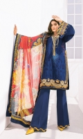 Embroidered Lawn Front Digital Printed Lawn Back Embroidered Lawn Sleeves Embroidered Sleeves Patch (2) Embroidered Neckline Patch Embroidered Front Patch (2) Embroidered Trousers Patch Digital Printed Chiffon Dupatta Dyed Cambric Lawn Trouser
