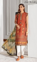 Embroidered Lawn Front Panel Embroidered Lawn Side Panel Digital Printed Back & Sleeves Embroidered Neckline Patches (02) Embroidered Front Patches (03) Embroidered Trouser Patch Digital Printed Chiffon Dupatta Dyed Cambric Lawn Trouser