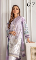Digital Printed Embroidered Front Digital Printed Back & Sleeves Embroidered Front Patch Embroidered Trouser Patch Digital Printed Chiffon Dupatta Dyed Cambric Lawn Trouser