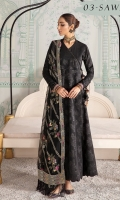 Dyed Jacquard Lawn Shirt Embroidered Sleeves Patch Embroidered Chiffon Dupatta Embroidered Dupatta Patches (2) Dyed Cambric Lawn Trouser