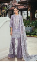 Lawn Jacquard Shirt (3.25 Yards)  Embroidered Neckline Patch (01 Pc)  Embroidered Front Patch (0.90 Yards)  Embroidered Net Dupatta (2 Yards)  Embroidered Dupatta Patches (2) (1.25 Yards Each)  Dyed Cambric Lawn Trousers (2.70 Yards)
