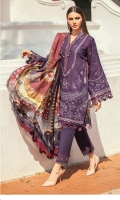 Embroidered Jacquard Lawn Front (0.95 Yards)  Embroidered Jacquard Lawn Sleeves (0.72 Yards)  Digital Printed Lawn Back (1.30 Yards)  Embroidered Sleeves Patch (1.10 Yards)  Embroidered Sleeves And Front Patch (2 Yards)  Embroidered Neckline Patch (1 Pc)  Embroidered Neckline Patch (1.25 Yards)  Printed Pure Silk Dupatta (2.70 Yards)  Dyed Cambric Lawn Trousers (2.70 Yards)  Embroidered Trousers Patch (1.10 Yards)