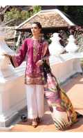 Embroidered Jacquard Lawn Front (0.95 Yards)  Embroidered Jacquard Lawn Sleeves (0.12 Yards)  Digital Printed Lawn Back (1.30 Yards)  Embroidered Sleeves Patch (1.10 Yards)  Embroidered Neckline Patch (01 Pc)  Embroidered Front Patch (01 Pc)  Printed Pure Silk Dupatta (2.70 Yards]  Embroidered Cambric Lawn Trousers (2.50 Yards)