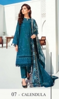 Embroidered Swiss Lawn Front Plain Swiss Lawn Back Embroidered Swiss Lawn Sleeves Embroidered Sleeves Patch Embroidered Front + Back Patch Embroidered Chiffon Dupatta Embroidered Dupatta Patches (2) Dyed Cambric Lawn Trouser