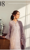 Embroidered Swiss Lawn Front Plain Swiss Lawn Back Embroidered Swiss Lawn Sleeves Embroidered Sleeves Patch Embroidered Front + Back Patch Embroidered Chiffon Dupatta Embroidered Dupatta Patch Dyed Cambric Lawn Trouser