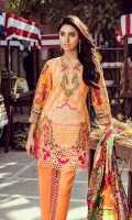 3.2 Meter Embroidered lawn shirt 2.5 Meter Digital Silk Duppata 2.5 Meter Dyed Trouser 1 Pc Embroidered Border