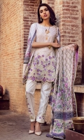 3.2 Meter Gold Printed Shirt  2.5 Meter Digital Chiffon Embroidered Duppata 2.5 Meter Dyed Trouser 1 Pc Embroidered Border 2 Pcs Trouser Embroidered Patch