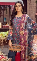 3.2 Meter Embroidered Lawn Shirt 2.5 Meter Digital Chiffon Duppata 2.5 Meter Dyed Trouser 2 Pcs Trouser Embroidered Patch 2 Pcs Embroidered Duppata Lace