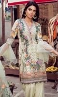 3.2 Meter Jacquard Embroidered Shirt with printed back 2.5 Meter Digital Silk Duppata 2.5 Meter Jacquard Trouser 1 Pc Embroidered Border