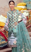 3.2 Meter Digital Embroidered Shirt 2.5 Meter Embroidered Net Duppata 2.5 Meter Embroidered Trouser