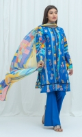 2.9 Mtrs Printed Lawn Shirt With Embroidery 2.5 Mtrs Printed Blended Chiffon Dupatta 2.5 Mtrs Dyed Pants