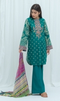 2.9 Mtrs Printed Lawn Shirt With Embroidery 0.7 Mtrs Embroidered Sleeve Border 2.5 Mtrs Printed Blended Chiffon Dupatta 2.5 Mtrs Dyed Pants