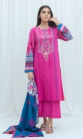 2.9 Mtrs Printed Lawn Shirt With Embroidery 2.5 Mtrs Printed Lawn Dupatta 2.5 Mtrs Dyed Pants