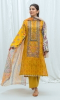 2.9 Mtrs Printed Lawn Shirt with Embroidery, 2.5 Mtrs Printed Blended Chiffon Dupatta