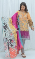 2.9 Mtrs Printed Lawn Shirt, 0.7 Mtrs Embroidered Sleeve patti, 2.5 Mtrs Printed Lawn Dupatta