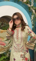 3 Piece Unstitch Digital Print And Exclusive Handwork Embroidered Lawn Suit , Digital Print And Embelishment Chiffon Fabric For Dupatta, Dyed Fabric For Trouser.