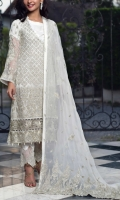 * 44 inches Embroidered Pure Chiffon Shirt Front   * 2.25 yard Silk Inner for Shirt * 1.25 Mtr Pure Chiffon Back   * 24 inches Emb Chiffon Sleeves * 1 Embroidered Patches for daman * 2.5 Mtr Embroidered Chiffon Dupatta * 2.5 yard Raw Silk trouser