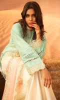 Dyed Jacquard Shirt Embroidered : 3M Dyed Chiffon Embroidered Dupatta :  2.50 M Embroidered Lace : 1 Yard Dyed Trouser : 2.50 M
