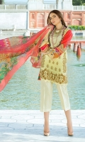 Dyed Lawn Front Embroidered :- 1.25 MTR Digital Lawn Back Sleeves :- 1.75 MTR  Digital Chiffon Dupatta :- 2.50 MTR Dyed Trouser Embroidered :- 2.50 MTR Lace:- 1 Yard