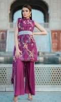 Dyed Lawn Front Embroidered :- 1.25 MTR Digital Lawn Back Sleeves :- 1.75 MTR  Embroidered Chiffon Dupatta :- 2.50 MTR Dyed Trouser:- 2.50 MTR Embroidered Daman Patch:- 1 Yard