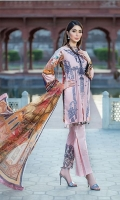 Dyed Lawn Front Embroidered :- 1.25 MTR Digital Lawn Back Sleeves :- 1.75 MTR  Digital Chiffon Dupatta :- 2.50 MTR Printed Trouser:- 2.50 MTR Daman Motif With 3D Flowers