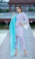 Dyed Lawn Front Embroidred :- 1.25 MTR Dyed Lawn Sleeves Embroidered :- .75 MTR  Embroidered Chiffon Dupatta :- 2.50 MTR Dyed Trouser :- 2.5 Yard Sleeves lace:- 1.25 Front Back Lace :- 2.00 Yards