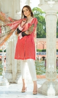 Dyed Lawn Front Embroidred :- 1.00 MTR Digital Lawn Back Sleeves :- 1.75 MTR  Digital Chiffon Dupatta :- 2.50 MTR Dyed Trouser Embroidered :- 2.50 Yard Nick Line:- 1 Yard