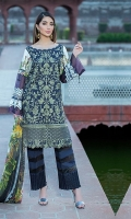 Dyed Lawn Front Embroidred :- 1.25 MTR Dyed Lawn Back Sleeves  :- .75 MTR  Digital Chiffon Dupatta :- 2.50 MTR Dyed Trouser :- 2.5 Yard Trouser Lace:- 1 Yard
