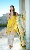 Dyed Lawn Front Embroidred :- 1.25 MTR Dyed Lawn Sleeves Embroidered :- .75 MTR  Digital Chiffon Dupatta :- 2.50 MTR Dyed Trouser :- 2.5 Yard Embroidered Lace:- 1 Yard