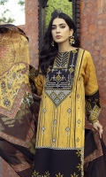 Embroidered Front 1.25 M Dyed Back & Sleeves 1.75 M Digital Print Silk Dupattaa 2.50 M Embroidered Neckline 1 Pc Embroidered Daman Motif 1 Pc Embroidered Lace for Sleeves 1 Pc Dyed Trouser  2.5 M