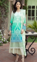 Digital Front Embroidered 1.25 M Digital Back & Sleeves 1.75 M Embroidered Chiffon Dupatta 2.50 M Dyed Trouser  2.5 M
