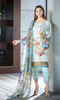 DIGITAL LAWN SHIRT EMBROIDERED: 03 MTR DIGITAL  CHIFFON  DUPATTA: 02.5 MTR DYED TROUSER  EMBROIDERED: 02.5 MTR