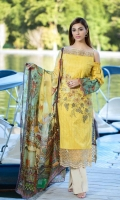 DYED LAWN FRONT EMBROIDERED: 1.25 MTR DIGITAL LAWN BACK SLEEVES: 1.75 MTR DIGITAL  CHIFFON  DUPATTA: 2.50 MTR DYED TROUSER  EMBROIDERED : 2.50 MTR EMBROIDERED DAMAN PATCH EMBROIDERED TROUSER LACE