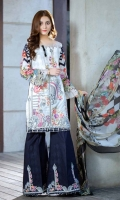 DYED LAWN FRONT EMBROIDERED: 1.25 MTR DIGITAL LAWN BACK SLEEVES: 1.75 MTR DIGITAL  CHIFFON  DUPATTA: 2.50 MTR DYED TROUSER   : 2.50 MTR