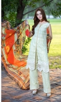 DYED LAWN FRONT EMBROIDERED: 1.25 MTR DIGITAL LAWN BACK SLEEVES: 1.75 MTR DIGITAL  CHIFFON  DUPATTA: 2.50 MTR DYED TROUSER   : 2.50 MTR EMBROIDERED DAMAN PATCH
