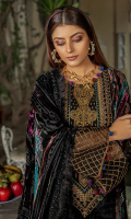 Plechi Shirt 3 M Plachi Shawl 2.50 Yard Dyed Raw Silk Trouser 2.50 M Embroidered Neckline 1 Pc Embroidered Lace 1 Yard