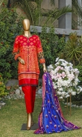 Printed Cambric Shirt. Printed Cambric Back and Sleeves. Lawn Embroidered and Printed Dupatta. Embroidered Trousers.