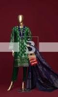 3 Piece Stitcheched Embroidery Jacquard Shirt with Jacquard dupatta and Plain Trouser.