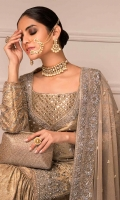 Beige Bridal With Heavy Gotta And Kamdani Work  Embroidered Gharara And Heavily Embroidered Dupatta With Kamdani And Nakshi  Jamavar And Net Fabric  Cut-Straight Cut Shirt With Gharara And Dupatta.