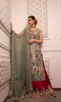 Fully Hand Embroidered Bridal With Velvet Applique Work And Kamdani.  Lama, Silk And Net Fabric  Cut-Straight Cut Shirt With Sides Open With Full Length Gown Underneath.