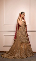 Red And Gold Traditional Bridal Infused With Gota  Thread And Nakshi Work  Net Fabric  Cut-Straight Shirt With Farshi Legnga