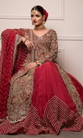 An All Red Classic With Gold Heavy Hand Embroidery And Cut Work  Gotta Work Lehnga And Dupaata  Organza Fabric  Cut-Straight Cut Front Open Shirt With Lehnga And Dupatta.