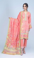 Digital Printed Embroidered Viscose Shirt: 1.75 M  Digital Printed Viscose Dupatta: 2.50 M  Dyed Viscose Trouser: 2.00 M  Embroidery: 2.00 M Organza Border On Trouser