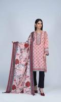 Printed Light Weight Khaddar Shirt: 3.00 M  Printed Light Weight Khaddar Dupatta: 2.50 M