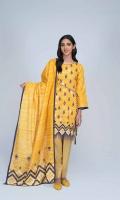 Digital Printed Light Weight Khaddar Shirt: 1.75 M  Digital Printed Light Weight Khaddar Dupatta: 2.50 M  Dyed Light Weight Khaddar Trouser: 2.00 M