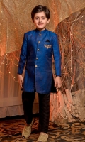 Banarsi sherwani, hand worked motif and buttons on front paired with black straight pants.