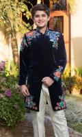 Band Collar Embroidered Front Straight Sleeves with Embroidered Straight Pants