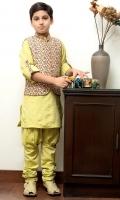 Kurta With Rollover Sleeves and Printed WaistCoat and Handwork Pleated Churidar Pants